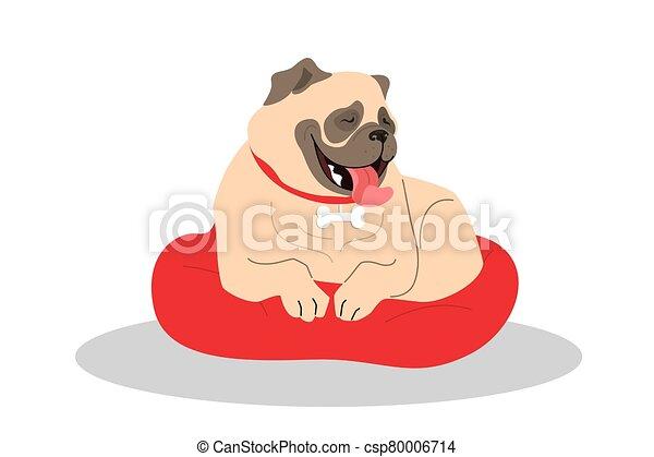 purebread, bostezando, dog., lindo, soñoliento, doguillo, lying. - csp80006714