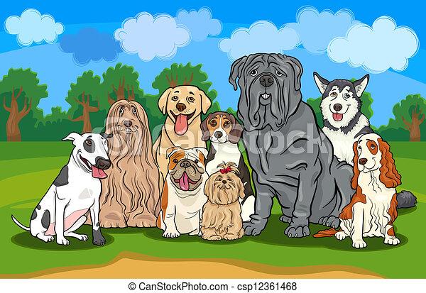 purebred, csoport, kutyák, ábra, karikatúra - csp12361468