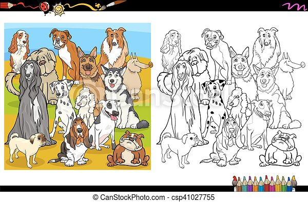 Purebred dogs coloring book. Cartoon illustration of purebred dogs ...