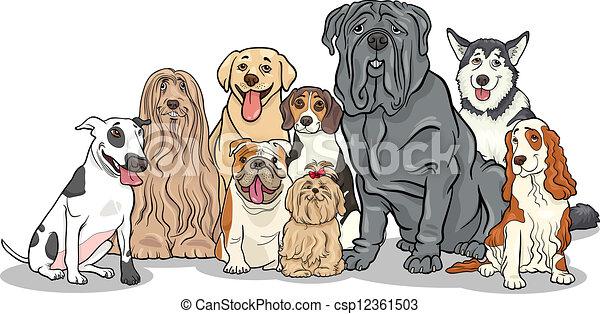 purebred, groupe, chiens, illustration, dessin animé - csp12361503