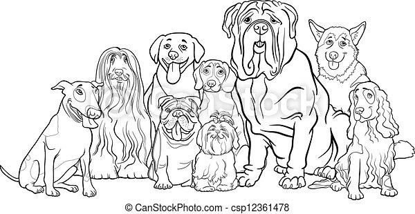 purebred, kleuren, groep, spotprent, honden - csp12361478