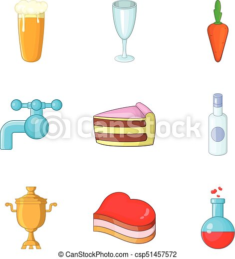 Purified water icons set, cartoon style - csp51457572