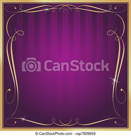 Purple and Gold Blank Square Striped Ornate Vector Background - csp7809659