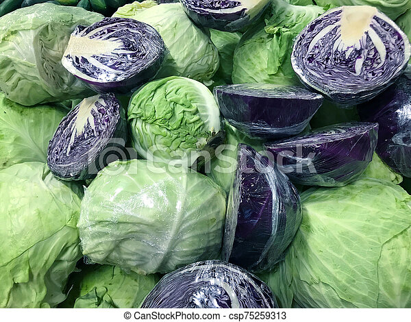 Purple And Green Cabbage In The Market Canstock