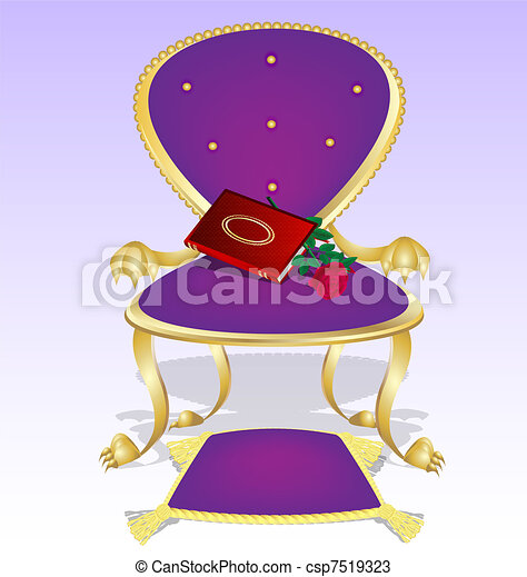 Purple Armchair And Red Book With Rose   Csp7519323