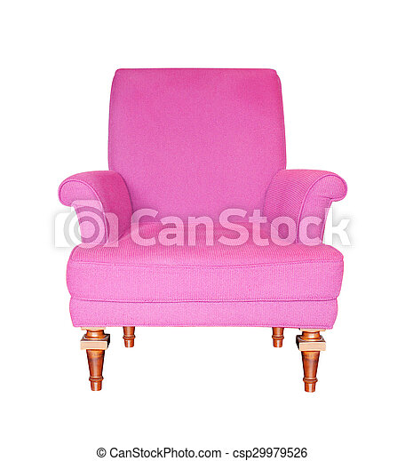 Purple armchair isolated on white background. - csp29979526