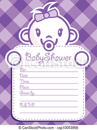 Purple baby girl invitation vector baby shower invitation greeting purple baby girl invitation csp10053956 stopboris Image collections
