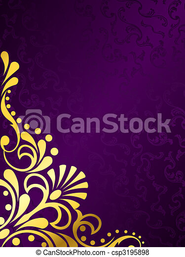 Purple background with gold filigree, vertical - csp3195898
