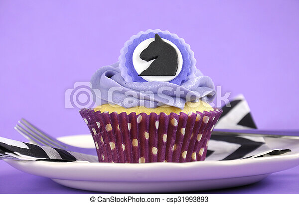 Purple, black and white theme racing carnival party table. Black and ...