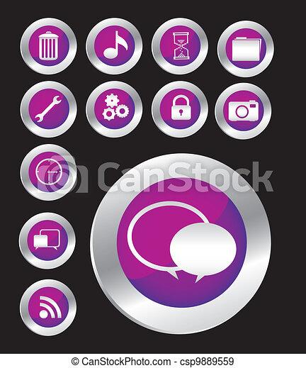 Purple button icon set - csp9889559
