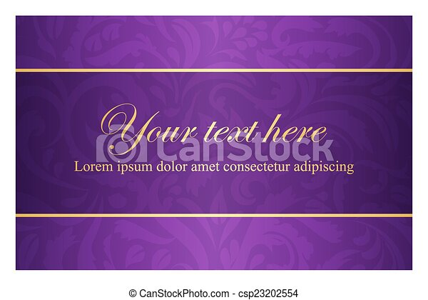 Purple card with vintage pattern and golden label - csp23202554