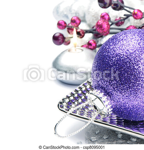 Purple Christmas ball on festive background - csp8095001