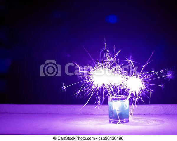 Purple color fireworks background - csp36430496