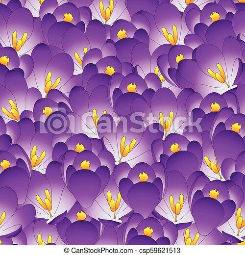 Purple Crocus Flower Seamless Background. - csp59621513