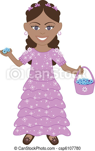 Purple dress flower girl. Vector of cute little girl with ...