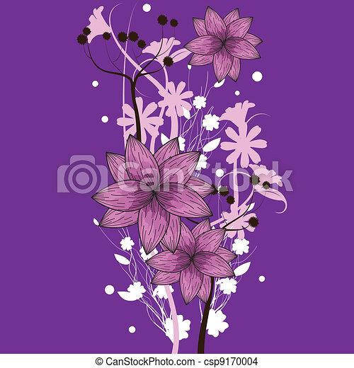 purple floral wallpaper csp9170004