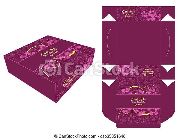 Purple Flower Cake Box Cake Box Template Design And Square Shape