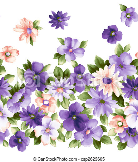 Illustration Drawing Of Pretty Purple Flower In A White Background