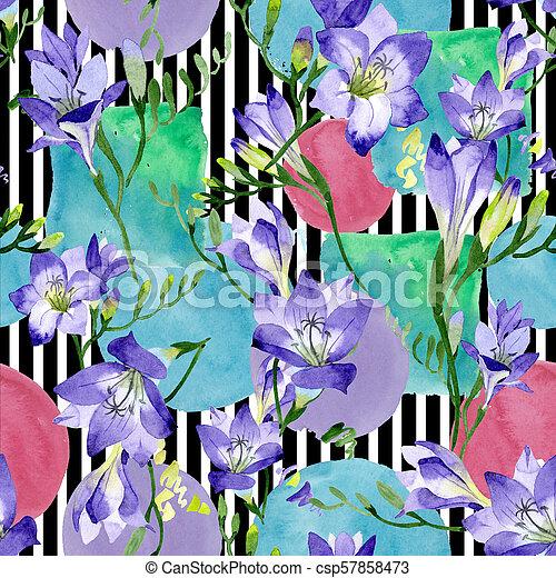 Purple Freesia Seamless Background Pattern Fabric Wallpaper