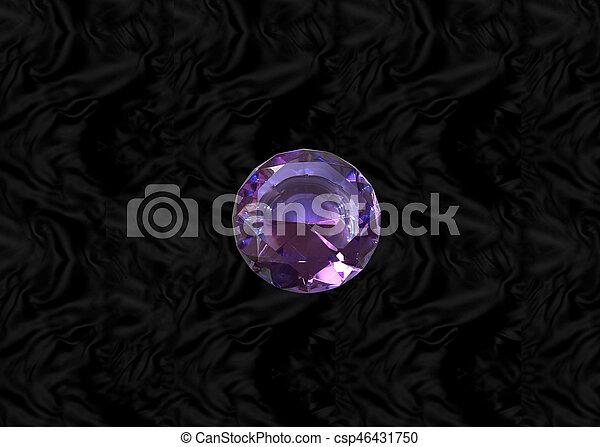 Purple gem on black velvet - csp46431750