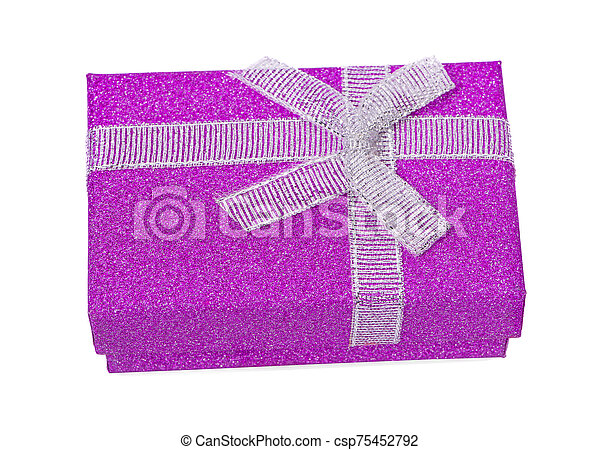 Purple gift box an isolated on white background. Clipping path - csp75452792