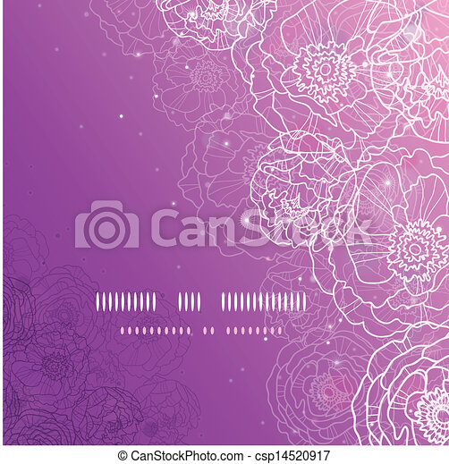 Purple glowing flowers magical square template background - csp14520917