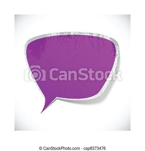 Purple grunge speech label design. - csp8373476