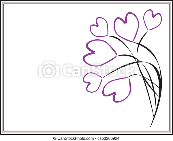 Purple Hearts On Branches In Frame - csp8286924