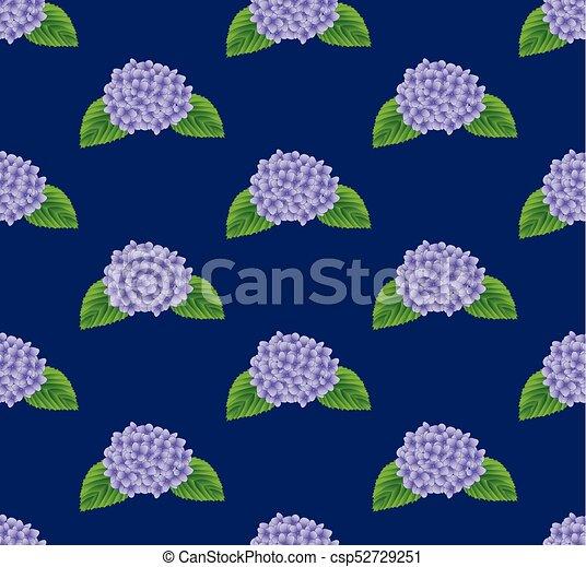 Purple Hydrangea Flower Seamless on Indigo Blue Background - csp52729251