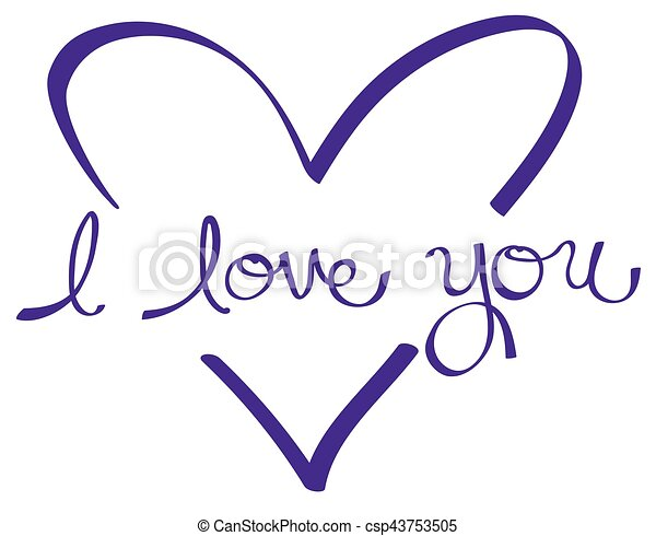 Purple I Love You Heart - csp43753505