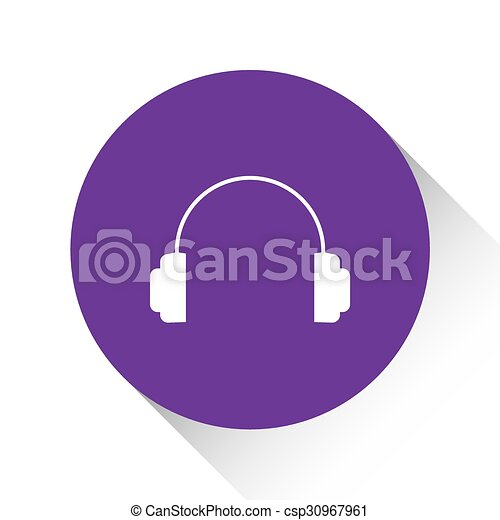 Purple Icon Isolated on a White Background - Headphones - csp30967961