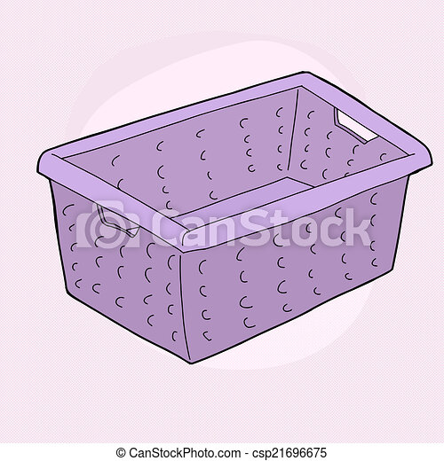 Purple Laundry Basket Single Cartoon Doodle