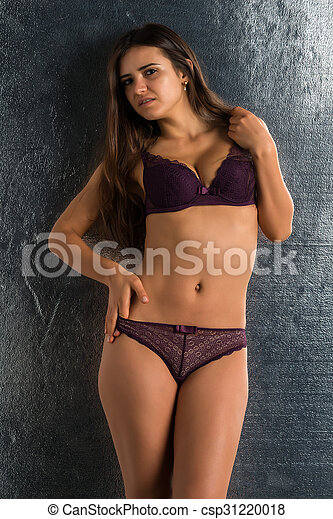 Brunette purple lingerie can not