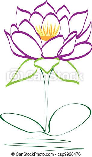 Purple lotus flower vector - csp9928476