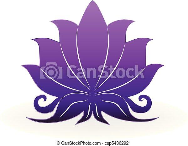 Purple Lotus Plant Zen Meditation Logo Vector Icon