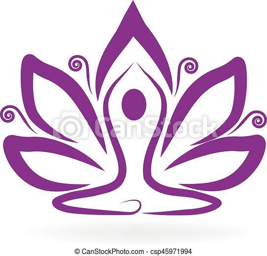 Purple lotus yoga logo lotus flower yoga logo meditation symbol purple lotus yoga logo csp45971994 mightylinksfo