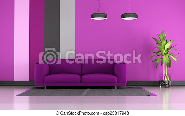 Purple lounge. Contemporary living room with purple sofa on ...