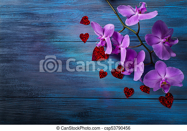 Purple Orchid And Hearts On Blue Old Wooden Background