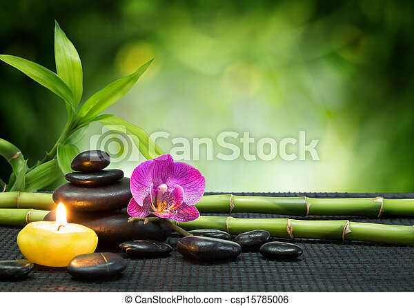 purple orchid, candle, with stones  - csp15785006