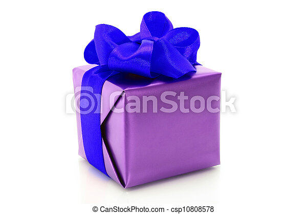 Purple present box with blue bow on a white background - csp10808578