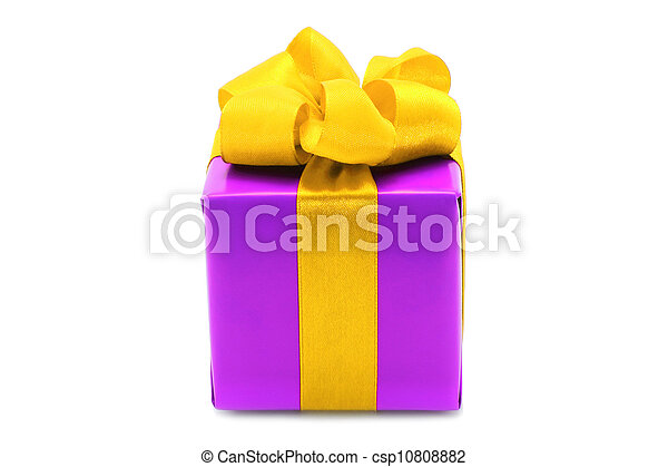Purple present box with yellow bow on a white background - csp10808882