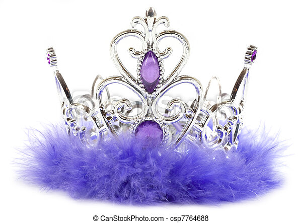 Purple princess crown isolated on white background - csp7764688