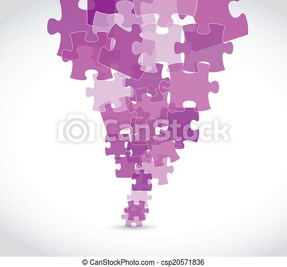 purple puzzle pieces illustration design - csp20571836