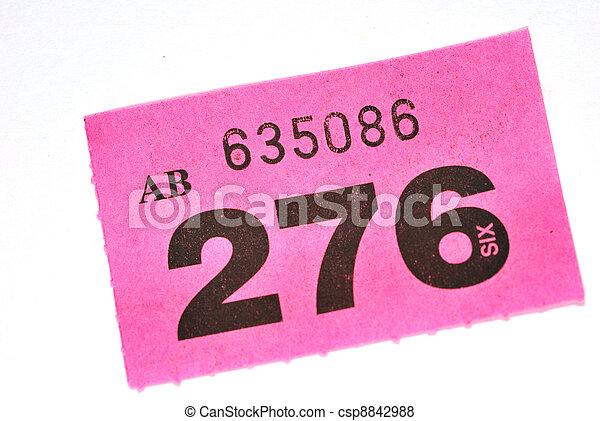 Purple raffle ticket.