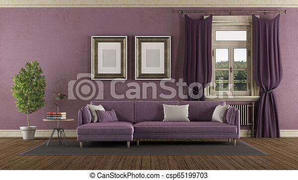 Purple retro living room