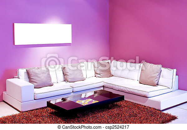 Purple room. Interior of living room with purple walls picture ...