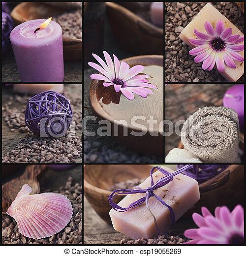 Purple spa collage - csp19055269