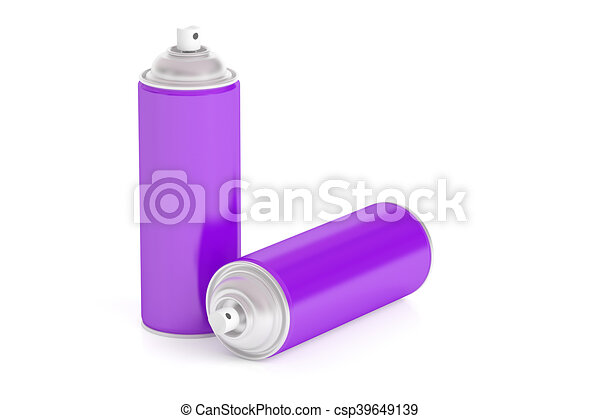 purple spray paint cans, 3D rendering
