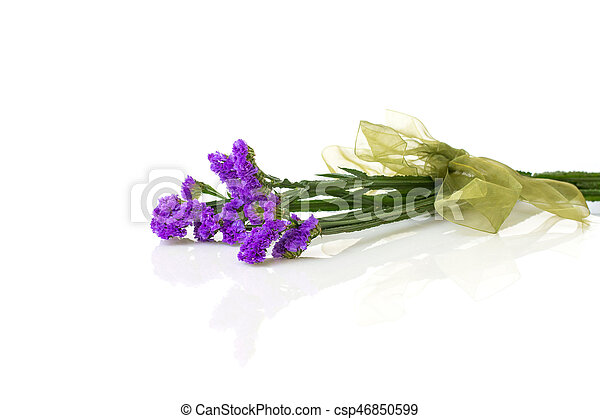 Purple Statice Flower With Ribbon Purple Statice Flower With Ribbon