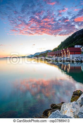 Purple sunset at Jorpeland - csp37889413
